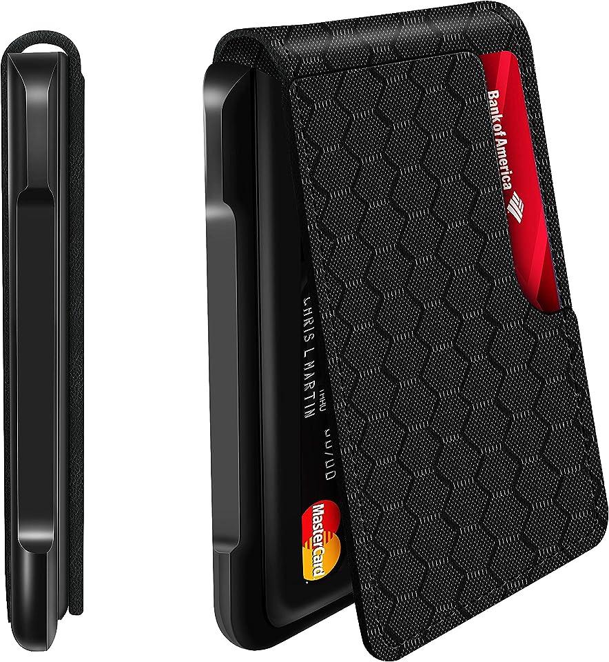 Mens Wallet Tactical Bifold Wallets for men Metal Ballistic Nylon RFID Blocking Aluminum Money Cards Holder Gifts for Men (Grid)