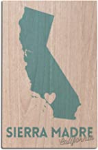 Lantern Press Sierra Madre, California - State Outline and Heart (12x18 Wood Wall Sign, Wall Decor Ready to Hang)