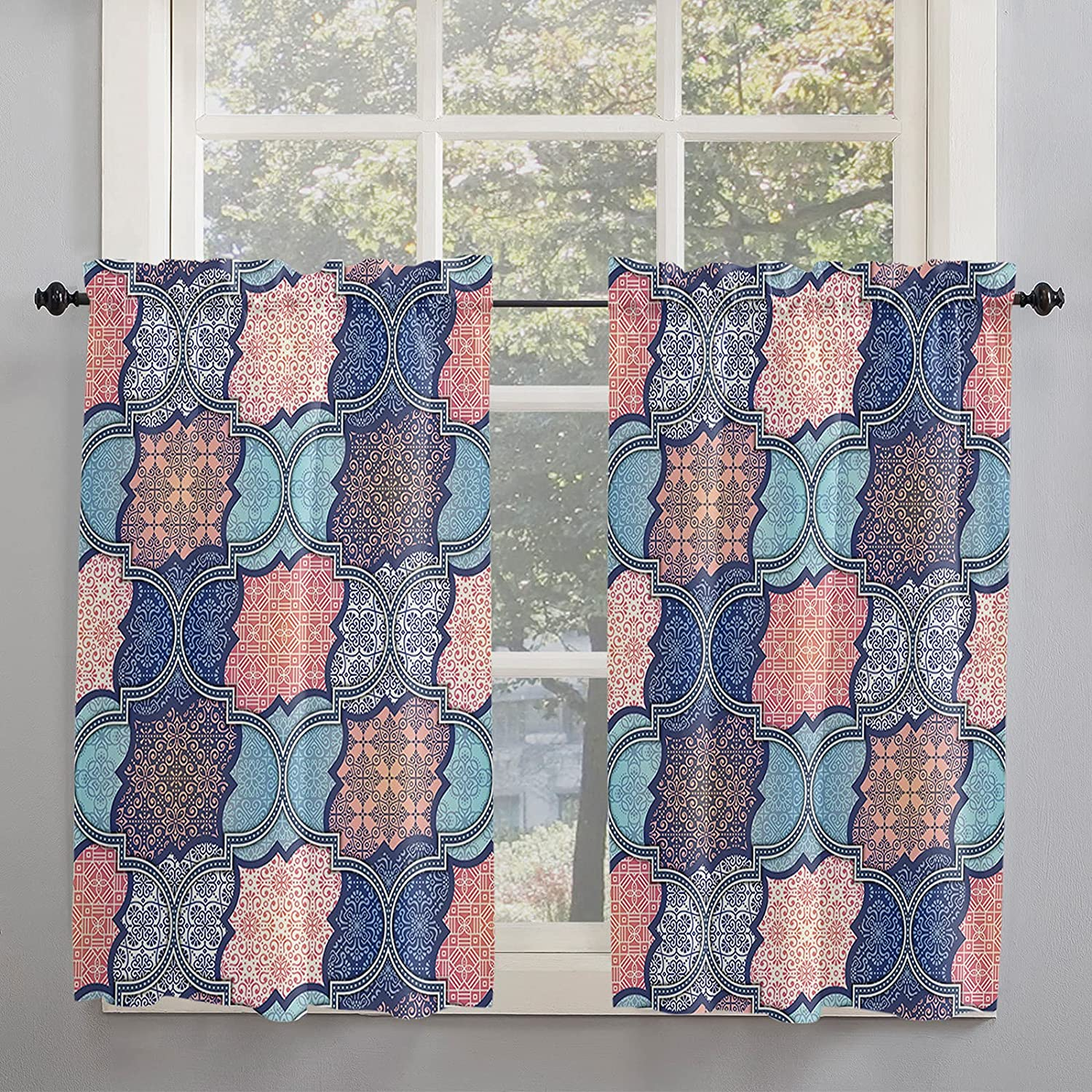 Retro Moroccan Style Kitchen Curtains for Windows Length Inch 54 Ranking TOP3 Complete Free Shipping