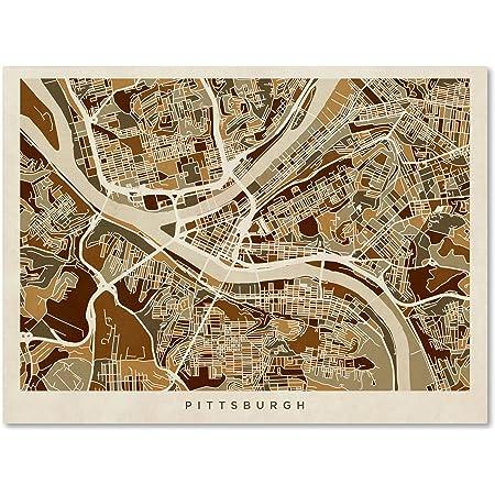 Amazon Com Pittsburgh Pennsylvania Street Map By Michael Tompsett 18x24 Inch Canvas Wall Art Posters Prints