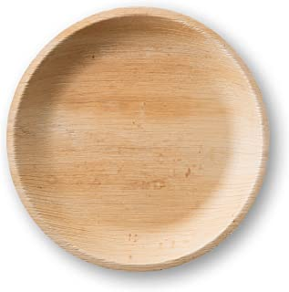 Large Palm Leaf Dinner Plates - Environmentally disposable tableware | 25 pieces | 10 Inches round | 1 inch deep |Bamboo Style | Biodegradable & Compostable