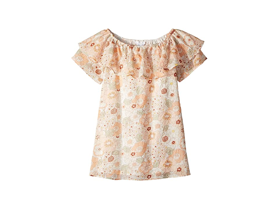 Chloe Kids Flower Print Ruffle Dress (Little Kids/Big Kids) (Rose Khaki) Girl