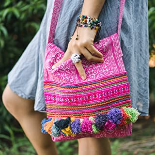 Changnoi Handcrafted Batik Crossbody Bag with Vintage Hmong Hill Tribe Embroidered, Tassels, Pink Boho Sling Bag for Women, Hippie Bag