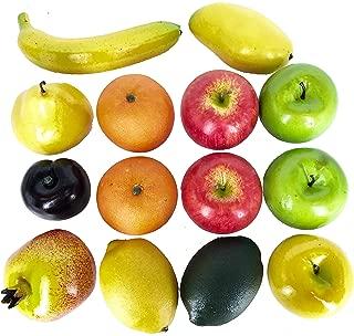 Dasksha 14PCS Lifesize Realistic Fruit Set - Fake Fruit for Decoration – NOT A Child's Toy - Set Includes Fake Apples, Oranges, Bananas, Limes