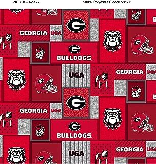 University of Georgia Fleece Blanket Fabric-Georgia Bulldogs Fleece Fabric with New Patch PATTTERN-Sold by The Yard