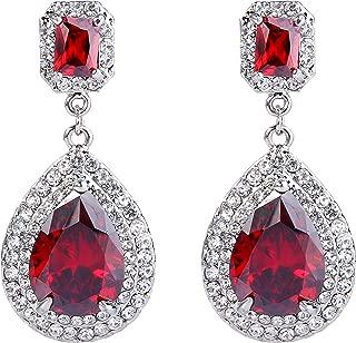 EVER FAITH Women's Austrian Crystal Zircon Teardrop Dangle Earrings