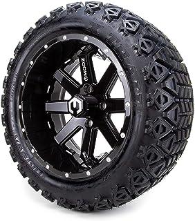"""14"""" MODZ Assault Black Ball Mill Golf Cart Wheels and All Terrain Tires Combo Set of 4"""