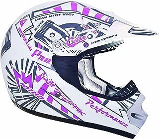 CKX 183973 TX-218 Pursuit Juniors/ Kids/ Youth Full Moto Helmet, Pink/White, Medium