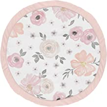 Sweet Jojo Designs Blush Pink, Grey and White Shabby Chic Playmat Tummy Time Baby and Infant Play Mat for Watercolor Flora...