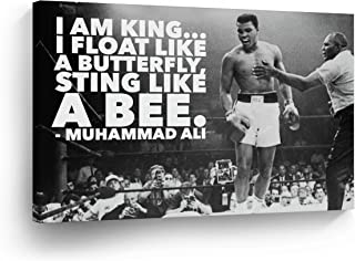 """""""I am King. I Float Like a Butterfly, Sting Like a Bee."""" CANVAS PRINT Decorative Art Wall Decor Artwork Wrapped Wood Stretcher Bars - Ready to Hang - %100 Handmade in the USA - AliQuoteH7"""