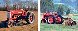 Impact Posters Gallery Wall Decor Art Print Red Vintage Farmall Farming Tractor Two Set Picture (8x10)