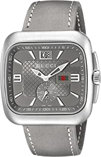 226ba9d43d4 Gucci Coupe Anthracite Sun-Brushed Diamond Pattern Dial Men s  Watch(Model YA131313)