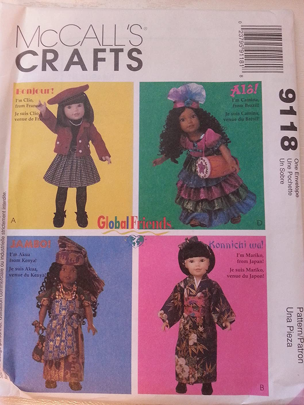 McCall's Crafts Pattern 9118 Global Friends Doll Clothes for 14