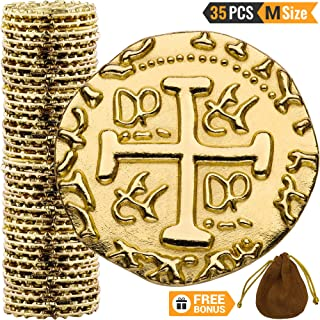 Metal Pirate Coins – 35 Gold Treasure Coin Set, Metal Replica Spanish Doubloons for Board Games, Tokens, Toys, Cosplay – Realistic Money Imitation, Pirate Treasure Chest – Medium Size 7/8 inch