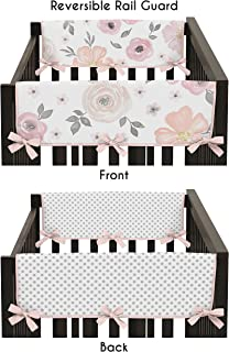 Sweet Jojo Designs 2-Piece Blush Pink Grey and White Side Crib Rail Guards Baby Teething Cover Protector Wrap for Watercolor Floral Collection