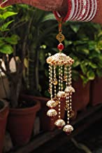 Abhika Creations Multilayered Golden and Red Spiral Kaleere/ Kaleera with Religious OM Swastik Charms Indian Punjabi Wedding