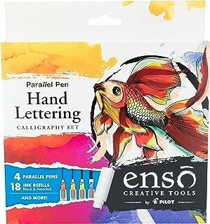 PILOT Enso Parallel Pen Kit with 6 Pack Black Ink Refills, 4 Nib Sizes (1.5mm, 2.4mm, 3.8mm, 6.0mm) (FP3-001-KTAZ)