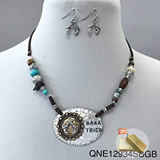 Brown Leather Mama Tried Metal Silver Finish Shotgun Shell Western Necklace For Women Set + Gold Cotton Filled Gift Box for Free