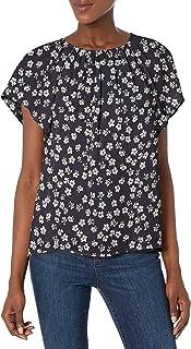 Amazon Brand - Lark & Ro Women's Georgette Flutter Short Sleeve Crewneck Top