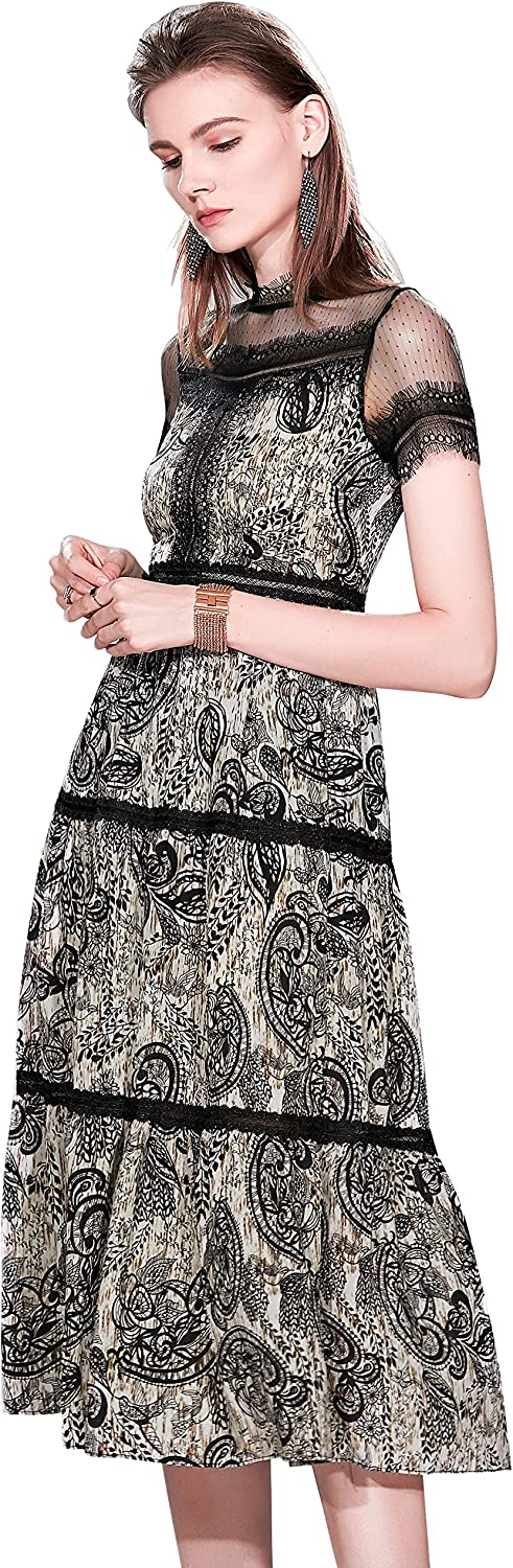 Women's Summer elageant Lace Casual Fasion A-line Evening Cocktail Midi Dress