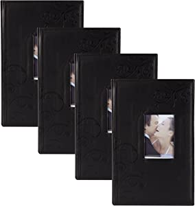 DesignOvation in The Clouds Black Faux Leather Photo Album, Holds 300 4x6 Photos, Set of 4