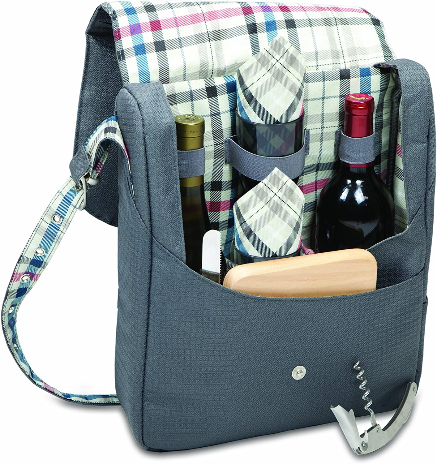 Picnic Time Carnaby Street Britannia Dual-Bottle Insulated Wine Tote with Wine Service for Two