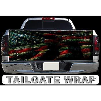 Pick-Up Truck Tailgate Wraps Dark Green Leaves