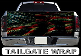 SF T191 Distressed American Flag Tailgate WRAP Vinyl Graphic Decal Sticker F150 F250 F350 Ram Silverado Sierra Tundra Ranger Frontier Titan Tacoma 1500 2500 3500 Bed Cover Tint Image