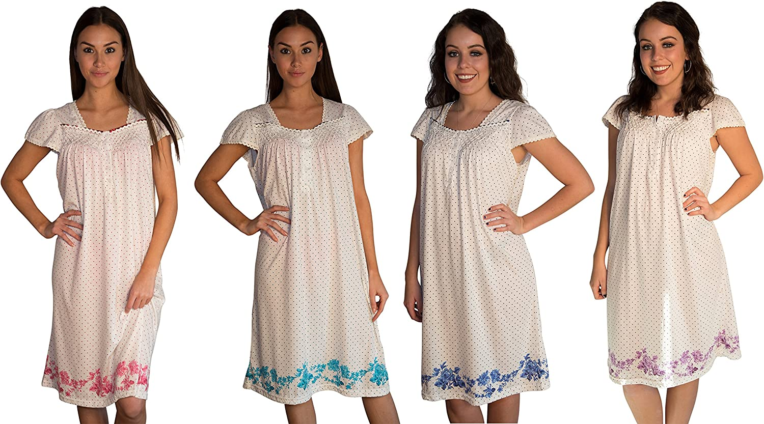JOTW 4 Pack Of Nightgown Sleepwear Dress With Polka Dots and Floral Print (0074)