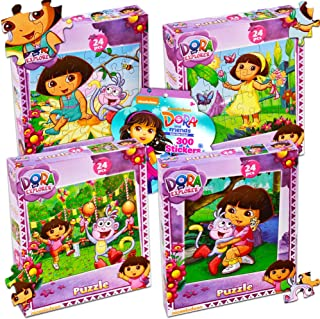 Dora the Explorer Puzzles Super Set ~ Bundle of 4 Dora Jigsaw Puzzles with Over 300 Bonus Dora Stickers (Dora the Explorer Party Supplies)