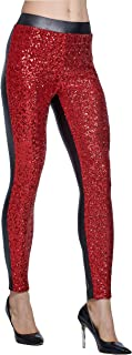 Women's Rose Shiny Sequins Faux Leather Leggings Pants Stretch Long Trousers