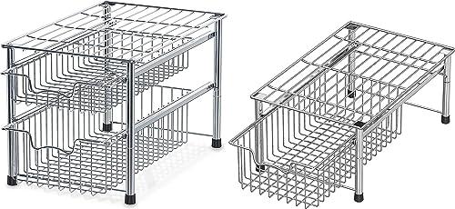 discount SimpleHouseware Stackable online 2 Tier new arrival Sliding Basket + Single Tier Basket, Chrome outlet sale