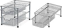 SimpleHouseware Stackable 2 Tier Sliding Basket + Single Tier Basket, Chrome