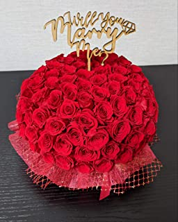 赤バラ108本/プロポーズ用フラワーケーキ ※マケプレプライム便