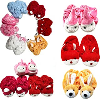 CEE 18 Baby Girls & Boys Soft Velvet Cartoon Face Socks Cum Shoes/Thick Base Booties - Pack of 6 (0-3 Months, 6 Colors)