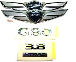 Genuine OEM Hood Trunk Wing G80 3.8 HTRAC Lettering Emblem Badge For 15 16 17 Hyundai Genesis Sedan G80 1Set-4ea