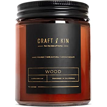 Craft & Kin Candles for Men, Premium 'Wood' Scented Candles for Men & Women | All-Natural Soy Candles, Rustic Home Decor Scented Candles | Non-Toxic, Ultra Clean Burn Aromatherapy Amber Jar Candles