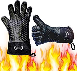 Long Silicone Grill Gloves - Heat Resistant Oven Mitts & Potholders for BBQ, Cooking, Baking – Wrist Protected, Waterproof, Cotton Layer inside, Non-slip Grill Accessories, 1 Size Fits All (Black)