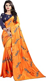 Shiroya Brothers Women's Silk Embroidered Saree with Blouse Piece (Peacock_Multicolour)