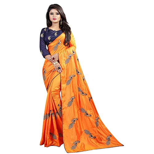 58f0038a109578 Shiroya Brothers Women's Silk Embroidered Saree with Blouse Piece  (Peacock_Multicolour)