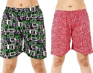 MUKHAKSH (Pack of 2 Women's/Girls/Ladies Hot Soft Cotton Printed Shorts/Lounge Shorts/Night Shorts/Nikar, Prints May Vary