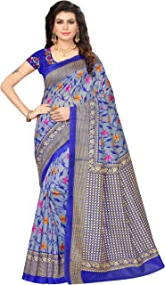 OOMPH! Art Silk Saree with Blouse Piece (rbks_festival065_Sapphire Blue_Free Size)