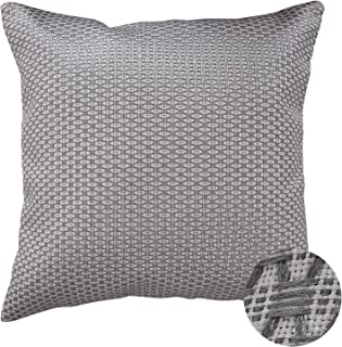 Deconovo Pillow Cover Honeycomb Cushion Cover For Bench with Invisible Zipper Dark Grey and White Knited 18 X 18 Inch