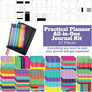 Practical Planner Dotted Journal Kit (Black) - Huge Value Set 67 Pieces, A5 Hardcover Journal Notebook, Fineliner Pens, Jo... photo
