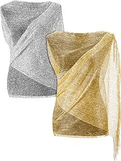 2 Pieces Women's Shawls Wraps Glitter Metallic Scarf Wrap Wedding Evening Shawl Wrap Fringes Party Scarf