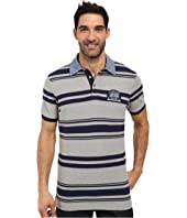 U.S. POLO ASSN. - Bar Code Stripe Pique Polo Shirt with Chambray Collar
