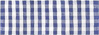 GLAMBURG Cotton Reversible Area Runner Rug 2' x 6' for Bedroom Living Room Kitchen Hallways Front Porch Laundry Room, Farmhouse Floor Mat, Washable Checkered Plaid Runner Rug Blue White