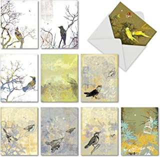 Boxed Set of 10 'Bird Collages' Greeting Cards - Assorted Bird Thank You Notes with Envelopes 4 x 5.12 inch - Animal Gratitude and Appreciation Notecards with Beautiful Birds M2987TYG