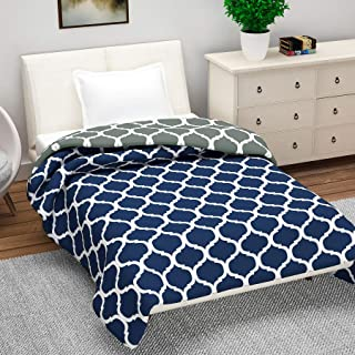 Divine Casa Microfiber Reversible 120 GSM Abstract Single A/C Dohar/Blanket/Quilt - Blue and Grey