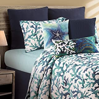 C&F Home Aqua Reef Coral Ocean Beach Coastal Machine Washable Reversible Twin Machine Washable Reversible Quilt Set Twin 2 Piece Set